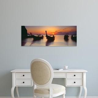 Easy Art Prints Panoramic Image 'Fishing boats in the sea, Railay Beach, Krabi, Krabi Province, Thailand' Canvas Art