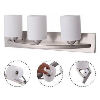 Costway 3 Light Glass Wall Sconce Modern Pendant Lampshade Fixture Vanity Metal Bathroom