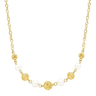 Mesh Bead & Freshwater Pearl Station Necklace in 14K Gold