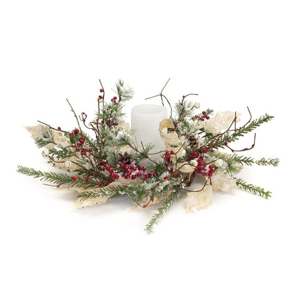 Pack of 4 Classic and Festive Frosted Berry and Pine Cone Candle Ring Centerpiece 18""