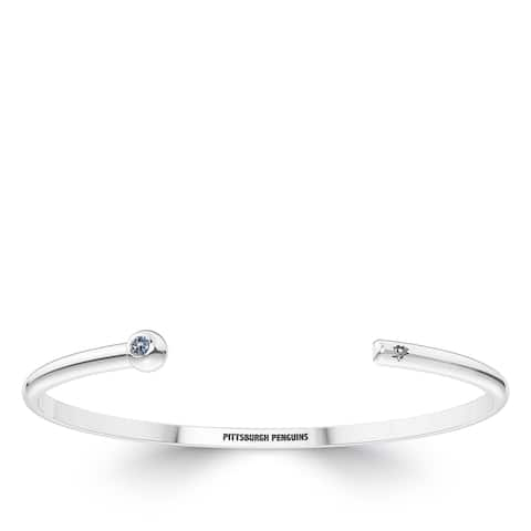 Pittsburgh Penguins Engraved Sterling Silver White Sapphire Cuff Bracelet