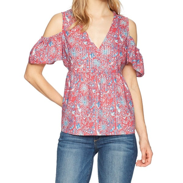361ed854bd Shop Lucky Brand Pink Womens Size Large L Cold Shoulder Metallic ...