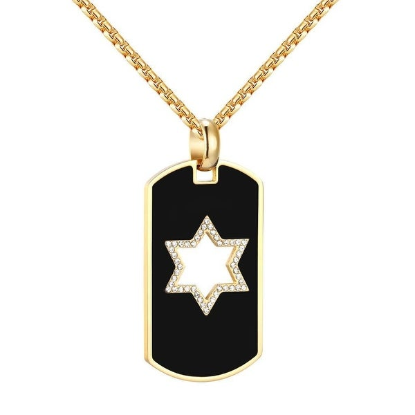 "Star Of David Dog Tag Pendant Jewish 14k Gold Over Stainless Steel 24"" Chain Men"