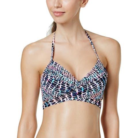 Sundazed Womens Simone Animal Print Halter Bikini Swim Top - Black Multi