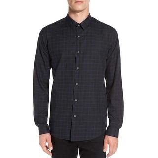 Theory Benner Gasden Slim Fit Plaid Long Sleeve Shirt Black and Blue Medium M