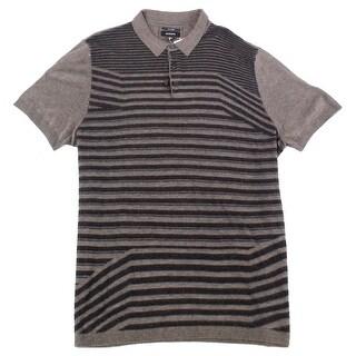 Alfani Brown Mens Size XL Striped Silk Blend Knit Polo Shirt