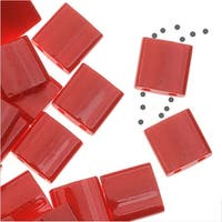 Miyuki Tila 2 Hole Square Beads 5mm - Opaque Red 7.2 Grams