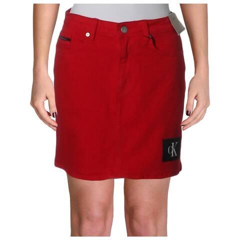 Calvin Klein Jeans Womens Denim Skirt Logo Mini - 28