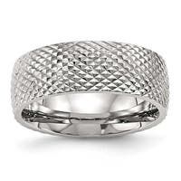 Stainless Steel Polished Textured Ring (8 mm) - Sizes 7 - 13