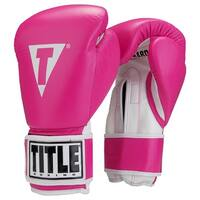 Title Boxing Originals Pro Style Hook and Loop Training Gloves - Pink/White