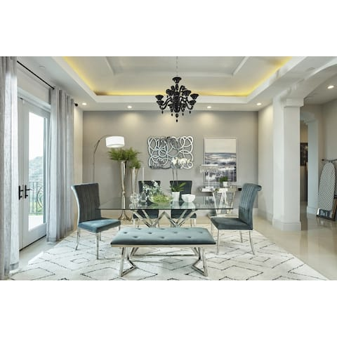 Silver Orchid Sten Grey/Chrome 5-piece Dining Set
