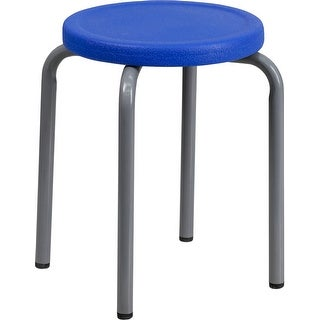 Boswell Stackable Multipurpose Stool w/Blue Seat & Silver Powder Coated Frame