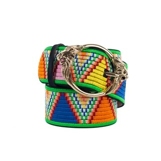 Roberto Cavalli Multi Embroidery Stitched Suede Lion Buckle Belt