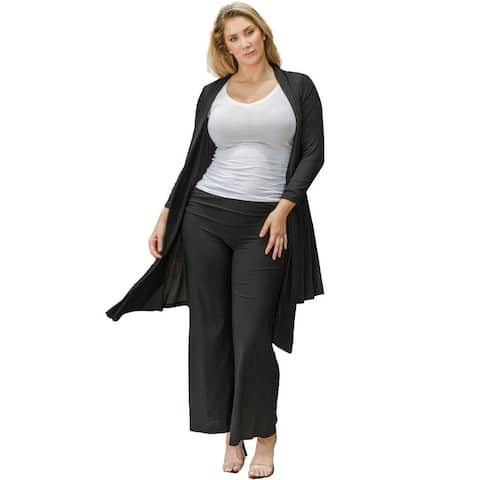 Funfash Plus Size Women Black Kimono Cardigan Duster Sweater Made USA
