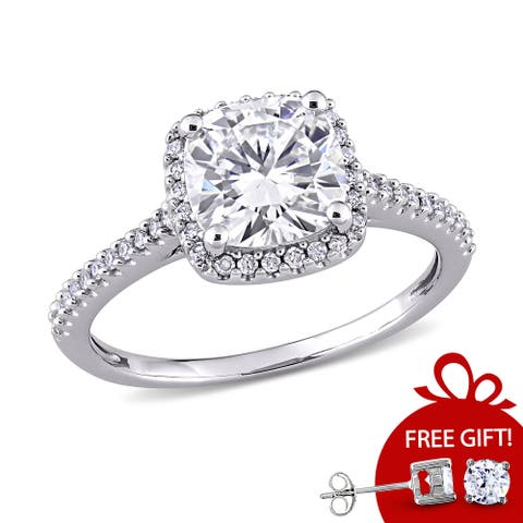 Miadora 14k White Gold Moissanite and Diamond Engagement Ring