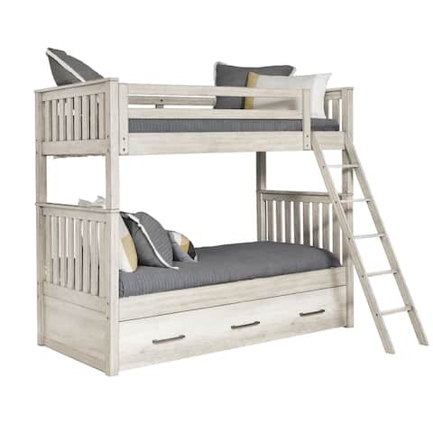 Weathered Grey Farmhouse Bunkbed with Trundle