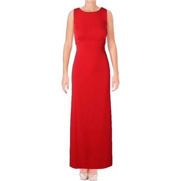 Shop Lauren Ralph Lauren Womens Mexia Evening Dress Crepe Open back ...