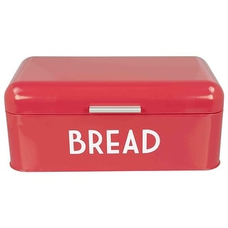 Home Basics Metal Bread Box with Lid, 16.7x9.5x6.5 Inches