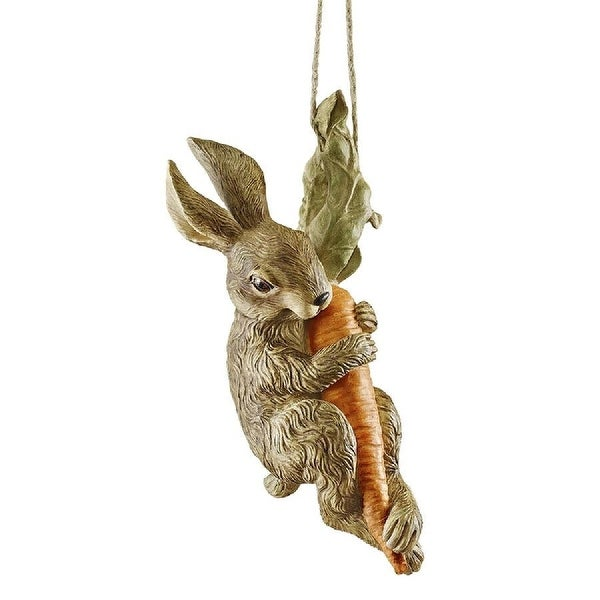 """15.5"""" Bunny Rabbit Holding Carrot Swinging Hand-painted Statue - N/A"""