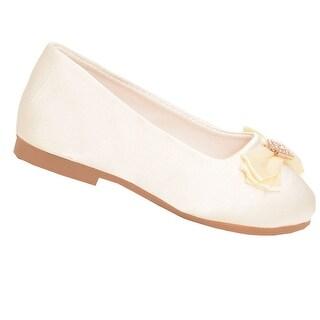 De Blossom Little Girls Ivory Sparkle Rhinestone Brooch Bow Flats