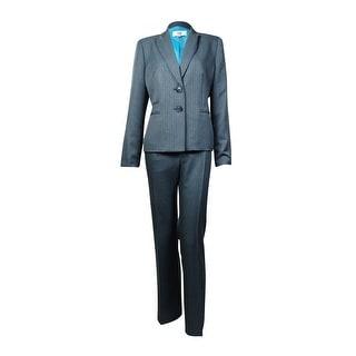 Le Suit Women's Notched Lapel Two Button Striped Pant Suit - 6