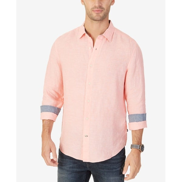 Shop Nautica Pink Mens Size Small S Classic-Fit Solid