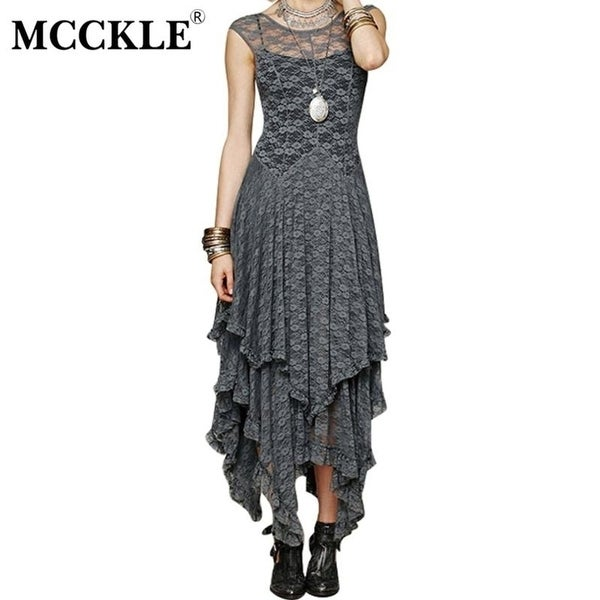 1890007e0c Mcckle Women Asymmetrical Lace Maxi Dress Summer Fashion Hippie Style Boho  Dress Hot Hollow Out Lace Plus Size Bohemian Dress