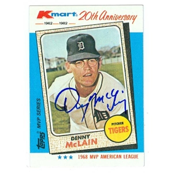 Denny Mclain Autographed Baseball Card Detroit Tigers 1982 Topps