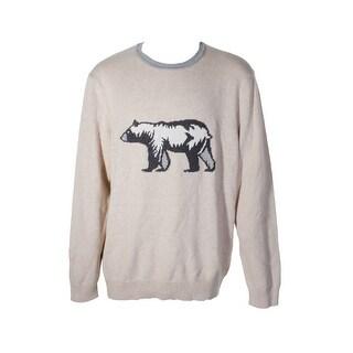 Club Room Mens Beige Grey Long Sleeve Bear Graphic Knit Crew Neck Sweater XXL