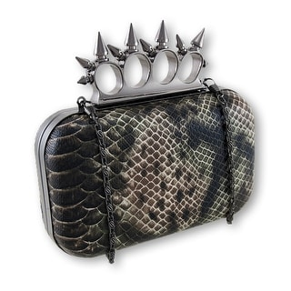 Faux Python Spiked Knuckle Duster Clutch Purse - Brown