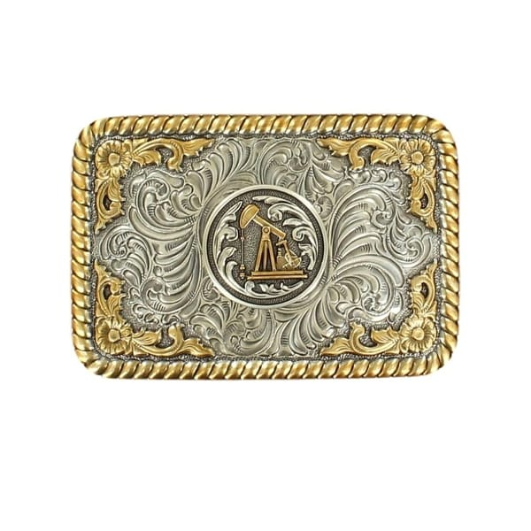 Nocona Western Belt Buckle Mens Oil Derrick Rope Silver Gold - 3 1/2 x 2 1/2