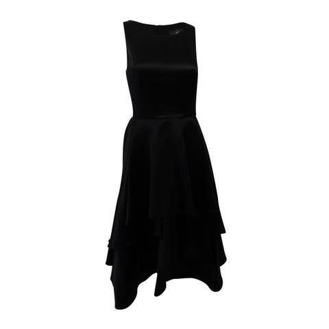 Adrianna Papell Women's Tiered Fit & Flare Dress (14, Black) - Black - 14
