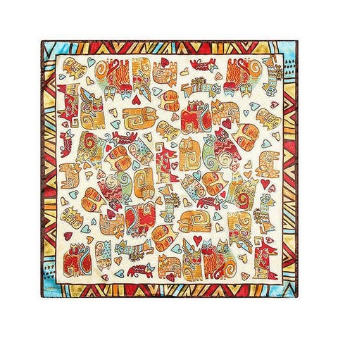 Linel Silk Touch Bohemian 24-inch Square Cat Scarf