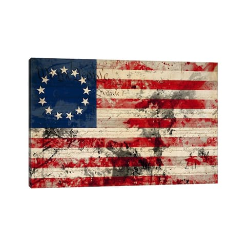 "iCanvas ""USA ""Betsy Ross"" Flag with Constitution Background I"" by iCanvas Canvas Print"