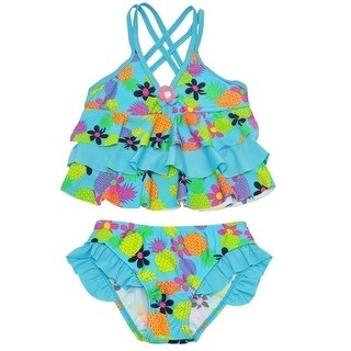 Real Love Little Blue Pineapple Flower Print Tiered 2 Pc Swimsuit