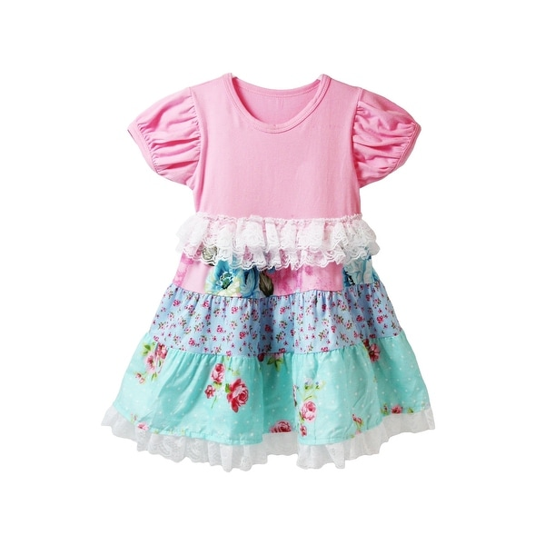 Baby Girls Pink Blue Floral Print Panel Lace Trim Cap Sleeve Dress