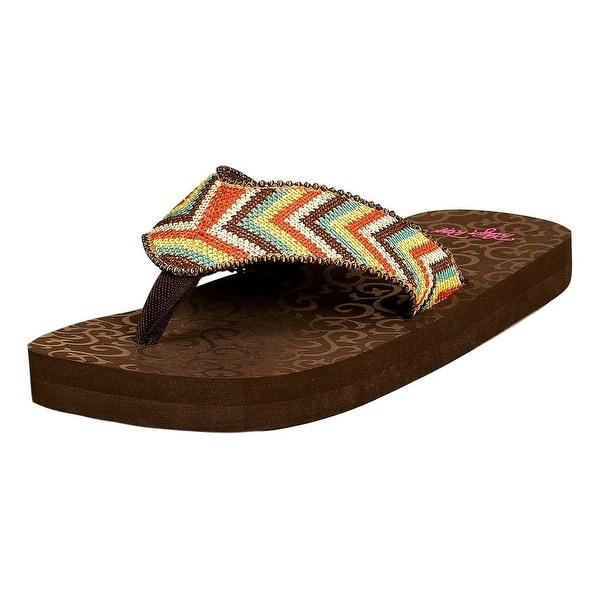Blazin Roxx Western Shoes Womens Angie Flip Flops Brown Orange