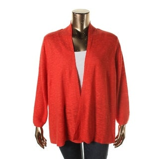 Eileen Fisher Womens Plus Ribbed Knit Open Front Cardigan Sweater - 3X