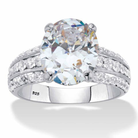 Platinum over Sterling Silver Oval Cut CZ Triple Row Engagement Ring