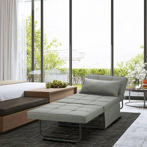 Porch & Den Wilkens Grey Reclining Convertible Chair/Ottoman