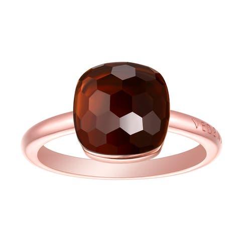 Vedantti Max Honeycomb Cut Smoky Quartz Gemstone Energy Solitaire Ring