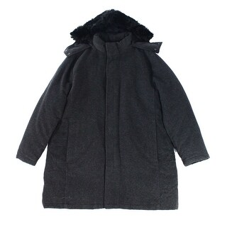 Alfani NEW Charcoal Black Mens Size XL Hooded Zip Button Down Coat