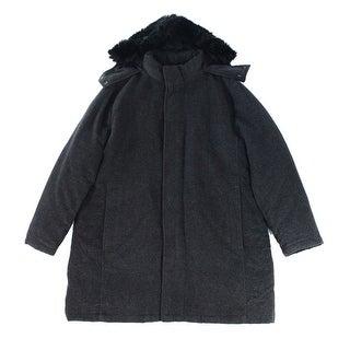 Alfani NEW Charcoal Gray Men Large L Faux-Fur-Trim Slim-Fit Parka Coat