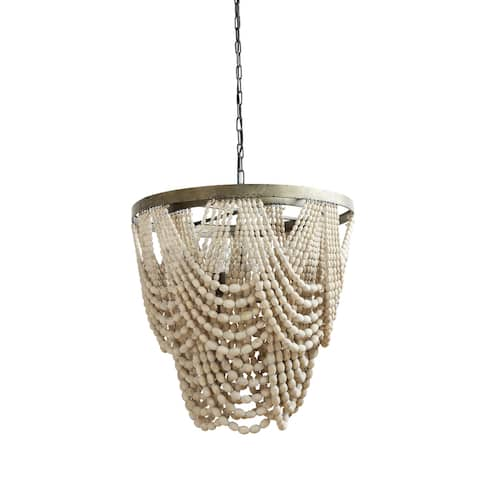 Distressed Cream Metal/ Wood Beaded Chandelier - Distressed Cream - Distressed Cream