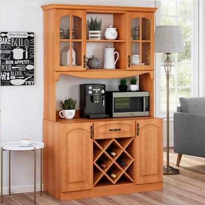 Living Skog 73'' Pantry Kitchen Storage Cabinet Wine Buffet MDF Cherry