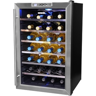 NewAir AW-281E Classic 28 Bottle Thermoelectric Wine Cooler - Stainless Steel - stainless steel & black