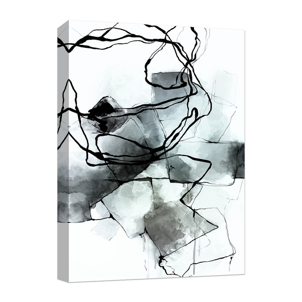 """PTM Images 9-124788 PTM Canvas Collection 10"""" x 8"""" - """"Tumbling Lines - Cool Tones"""" Giclee Abstract Art Print on Canvas"""