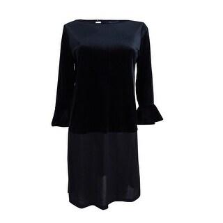 Tommy Hilfiger Women's Plus Size Velvet Mixed-Media Tunic - Black