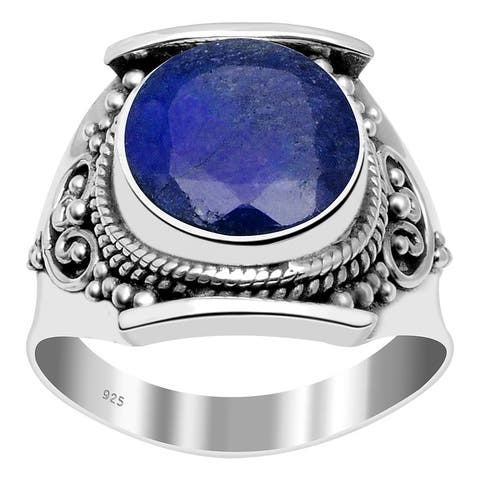 Multi Color Gemstones Sterling Silver Round Filigree Ring by Orchid Jewelry