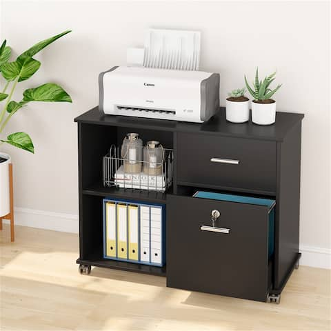 Mobile File Cabinet with Drawer and Lock, Letter Size